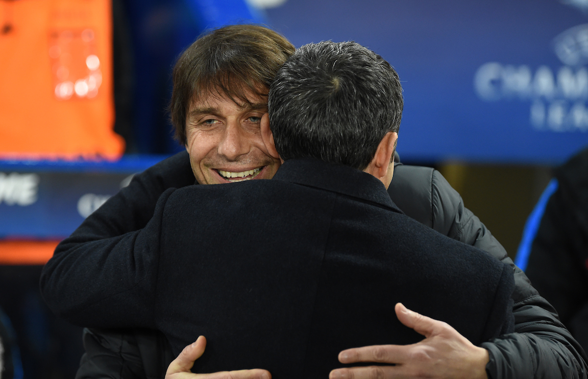 Antonio Conte manager of Chelsea embraces Ernesto Valverde manager of FC Barcelona during the UEFA Champions League match at Stamford Bridge, London Picture by Simon Dael/Focus Images Ltd 07866 555979 20/02/2018