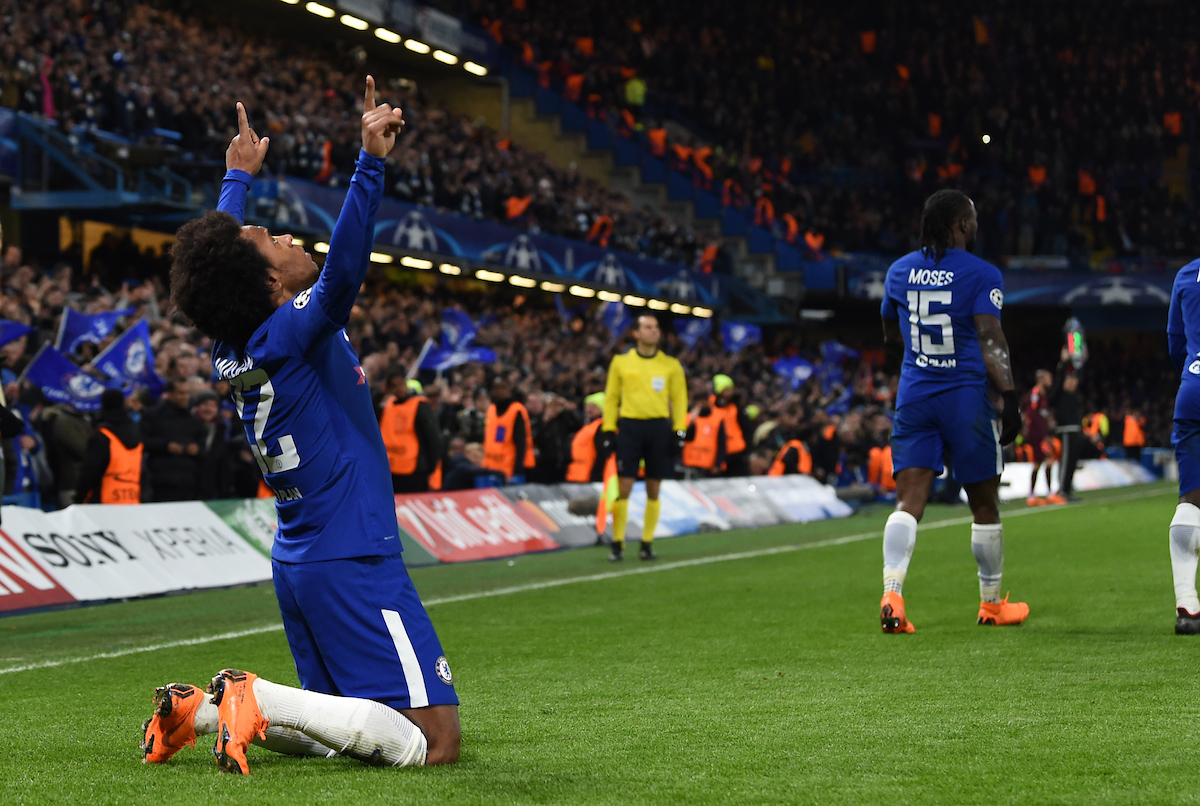 Willian of Chelsea celebrates after scoring during the UEFA Champions League match at Stamford Bridge, London Picture by Simon Dael/Focus Images Ltd 07866 555979 20/02/2018