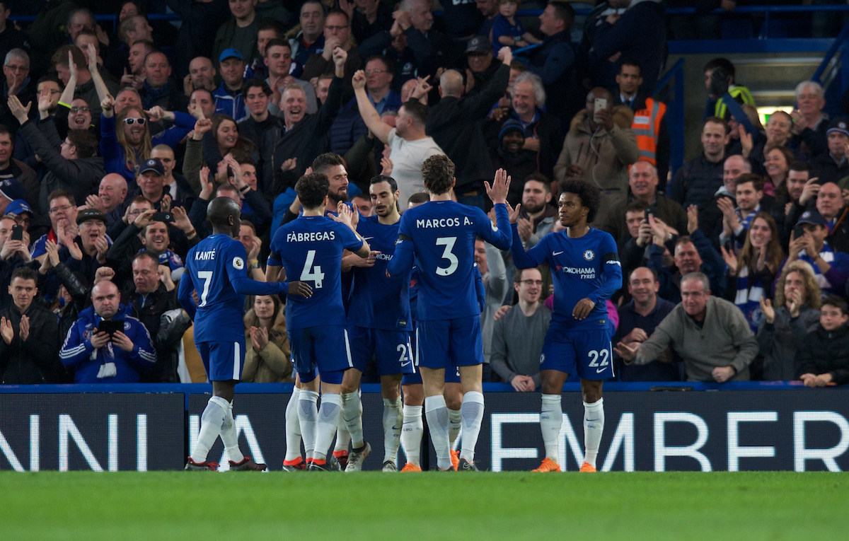 Chelsea players celebrate after Luka Milivojevic of Crystal Palace scores an own goal to make it 2-0 during the Premier League match at Stamford Bridge, London Picture by Alan Stanford/Focus Images Ltd +44 7915 056117 10/03/2018
