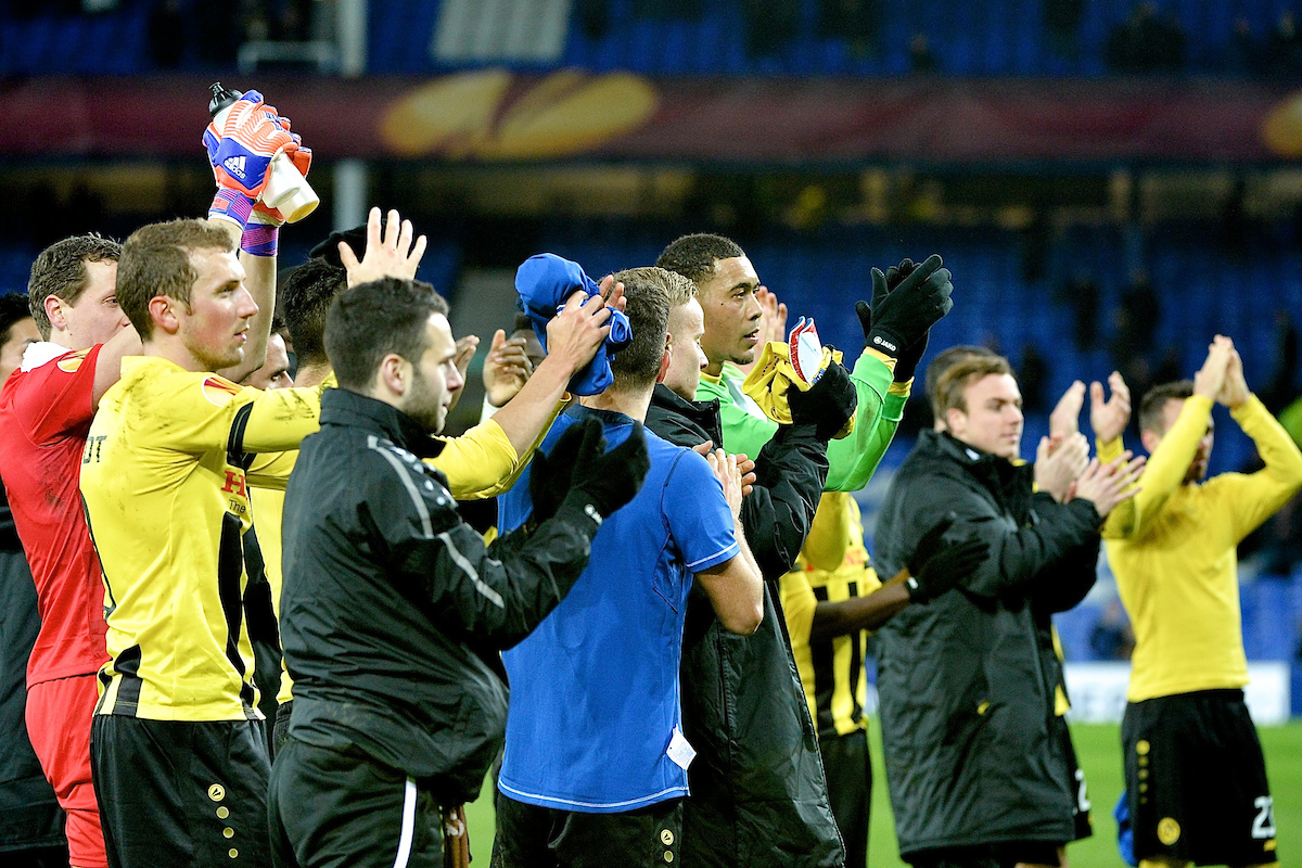 BSC Young Boys players acknowledge their fans following the UEFA Europa League match at Goodison Park, Liverpool Picture by Ian Wadkins/Focus Images Ltd +44 7877 568959 26/02/2015