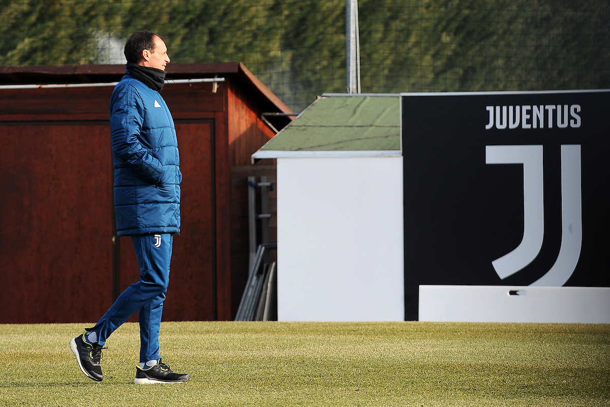 Massimiliano Allegri, head coach of Juventus during training at the Vinovo ahead of their last 16 UEFA Champions League first leg tie at home to Tottenham Hotspur.  Picture by Stefano Gnech/Focus Images Ltd +447904 833202 12/02/2018