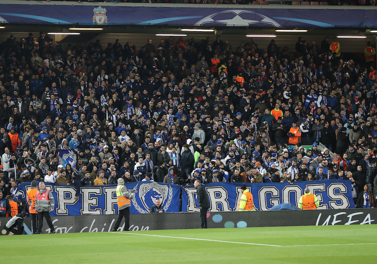 FC Porto fans prior to the the UEFA Champions League match against Liverpool at Anfield, Liverpool.  Picture by Michael Sedgwick/Focus Images Ltd +44 7900 363072  06/03/2018