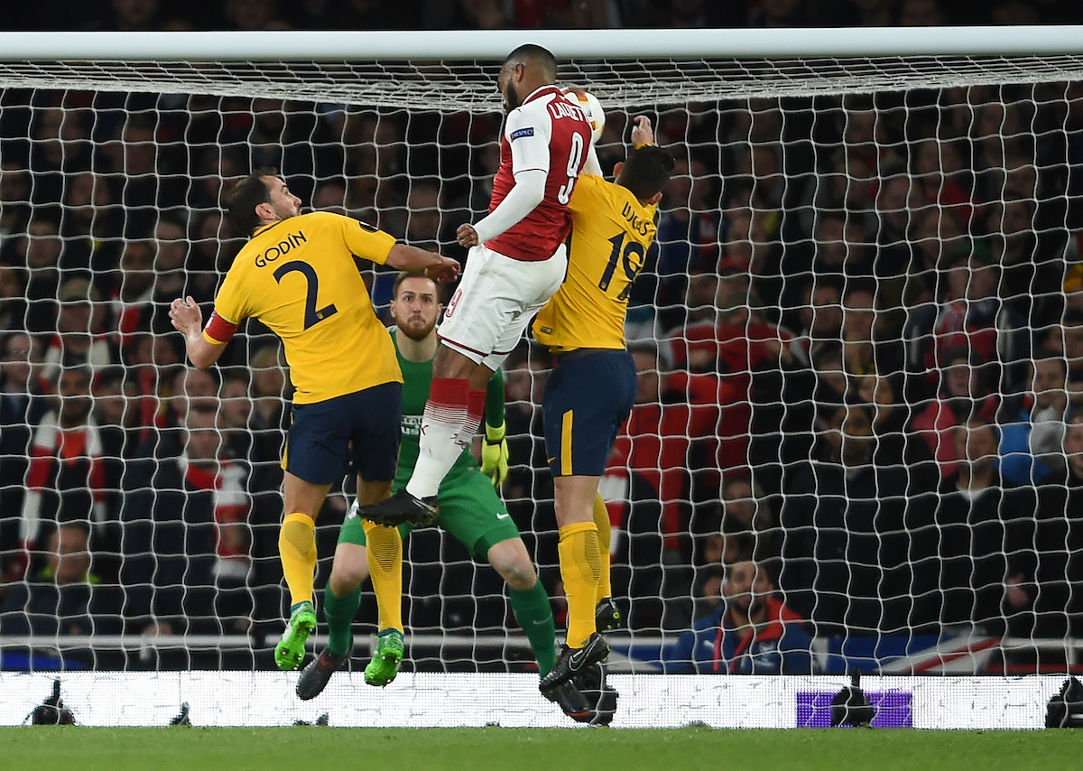 Arsenal's Alexandre Lacazette scores his side's first goal of the game during the UEFA Europa League Semi-Final match at the Emirates Stadium, London Picture by Daniel Hambury/Focus Images Ltd 07813022858 26/04/2018