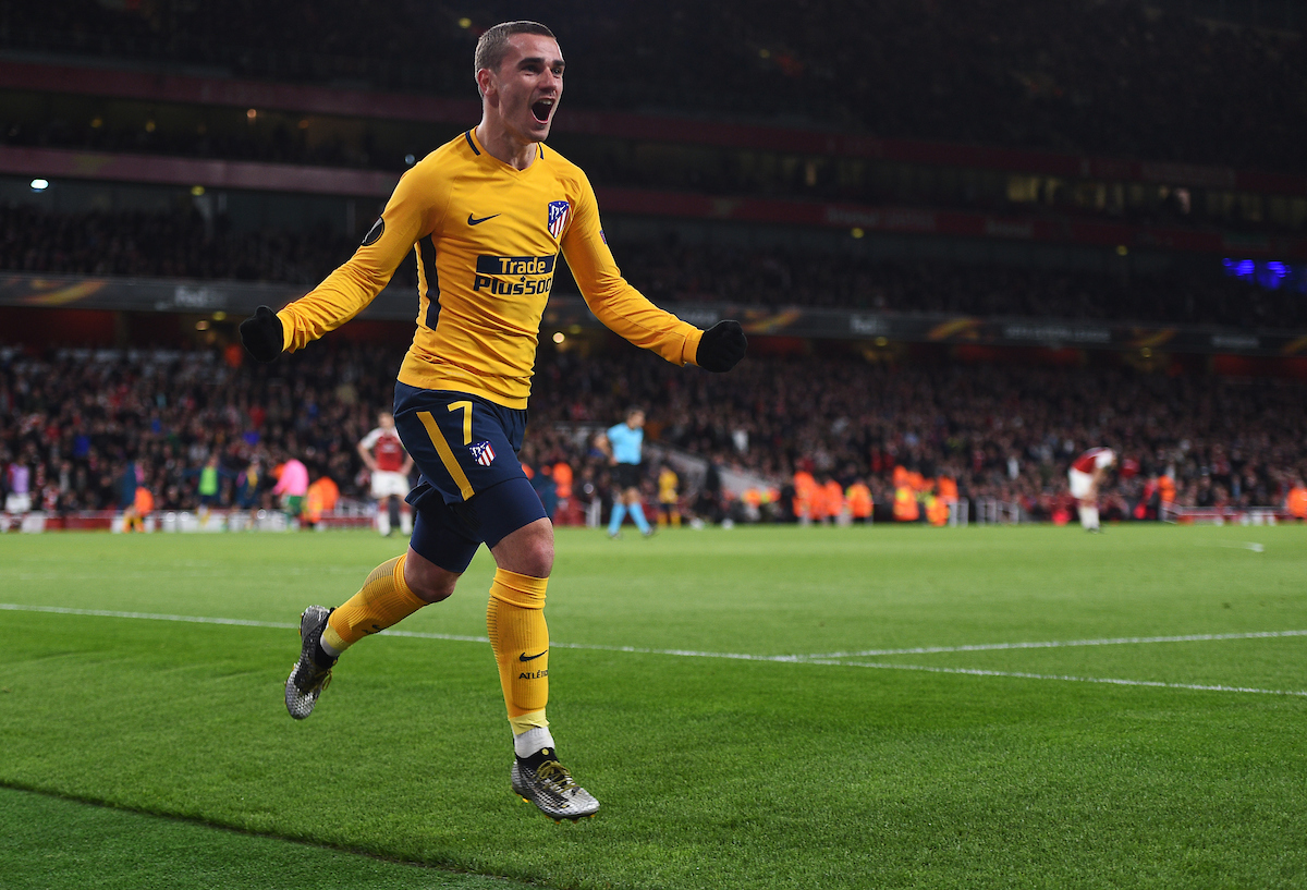 Atletico Madrid's Antoine Griezmann celebrates scoring his side's first goal of the game during the UEFA Europa League Semi-Final match at the Emirates Stadium, London Picture by Daniel Hambury/Focus Images Ltd 07813022858 26/04/2018