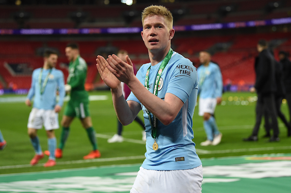 Kevin De Bruyne of Manchester City at the end of the Carabao Cup Final match at Wembley Stadium, London Picture by Simon Dael/Focus Images Ltd 07866 555979 25/02/2018