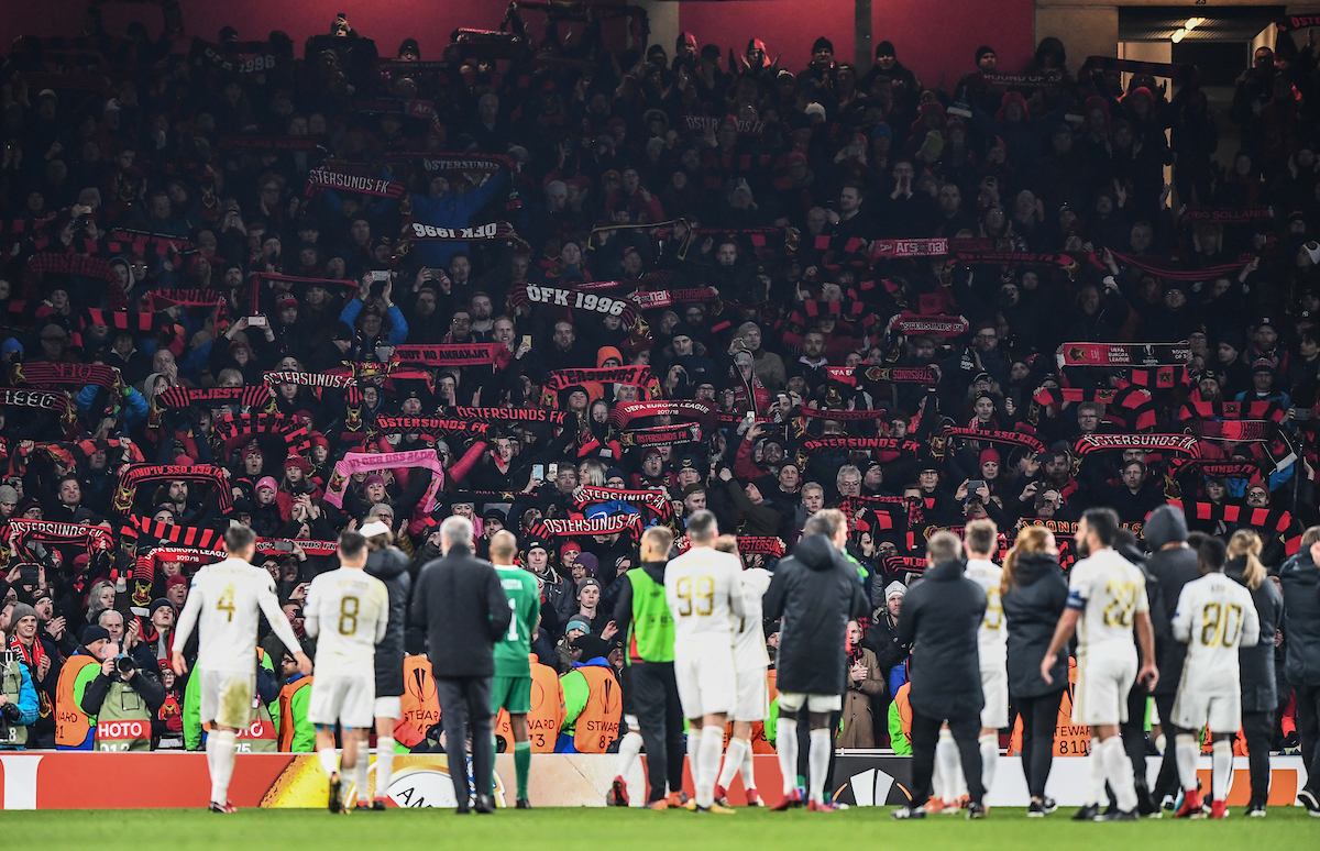 Fans of of Ostersunds FK wave flags in front of their team at the end of the UEFA Europa League match at the Emirates Stadium, London Picture by Simon Dael/Focus Images Ltd 07866 555979 22/02/2018