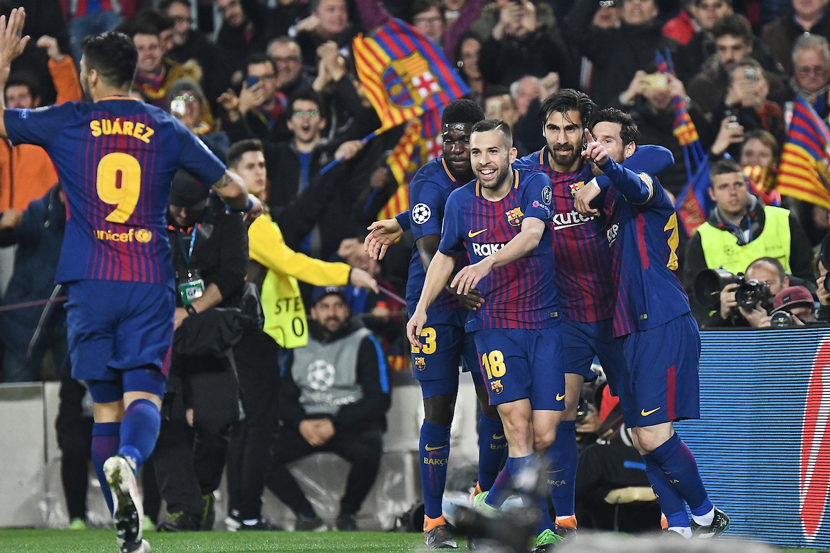 Lionel Messi of FC Barcelona celebrates scoring their third goal to make it FC Barcelona 3 Chelsea 0 during the UEFA Champions League match at Camp Nou, Barcelona Picture by Kristian Kane/Focus Images Ltd +44 7814 482222 14/03/2018