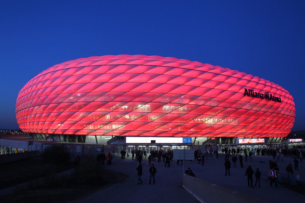 General View of the Allianz Arena at dusk during the UEFA Champions League match at Allianz Arena, Munich Picture by Yannis Halas/Focus Images Ltd +353 8725 82019 15/02/2017