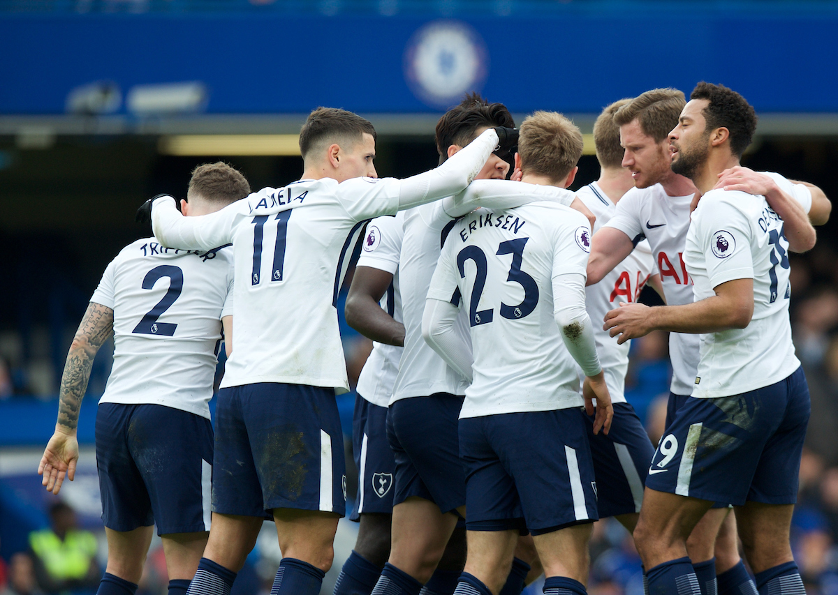 Christian Eriksen of Tottenham Hotspur (23) celebrates with his team mates after scoring the equaliser during the Premier League match at Stamford Bridge, London Picture by Alan Stanford/Focus Images Ltd +44 7915 056117 01/04/2018