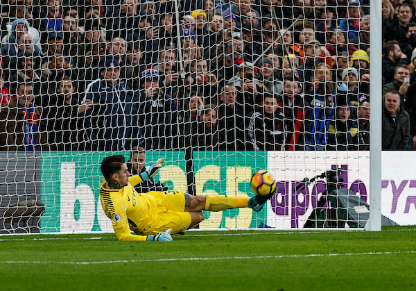 Goalkeeper Ederson of Manchester City saves the penalty from Luka Milivojevic of Crystal Palace during the Premier League match at Selhurst Park, London Picture by Liam McAvoy/Focus Images Ltd 07413 543156 31/12/2017