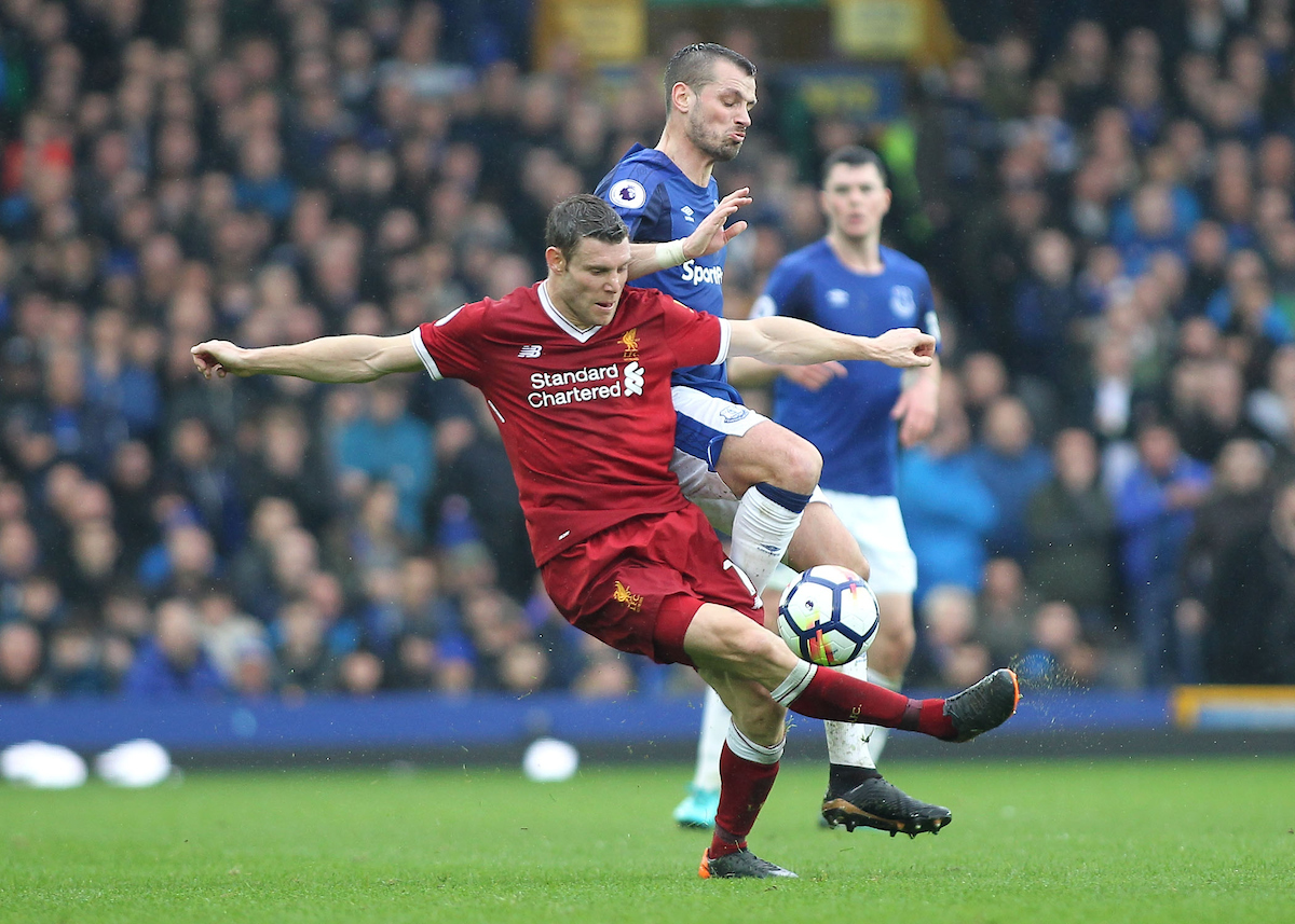 Morgan Schneiderlin of Everton and James Milner of Liverpool in action during the Premier League match at Goodison Park, Liverpool. Picture by Michael Sedgwick/Focus Images Ltd +44 7900 363072 07/04/2018