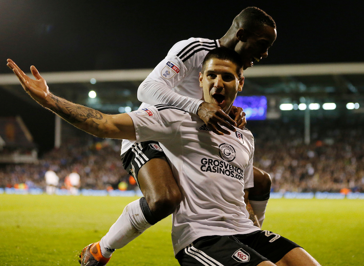 Aleksandar Mitrovic of Fulham celebrates scoring to make it 2-0 during the Sky Bet Championship match at Craven Cottage, London Picture by Simon Moore/Focus Images Ltd 07807 671782 03/04/2018
