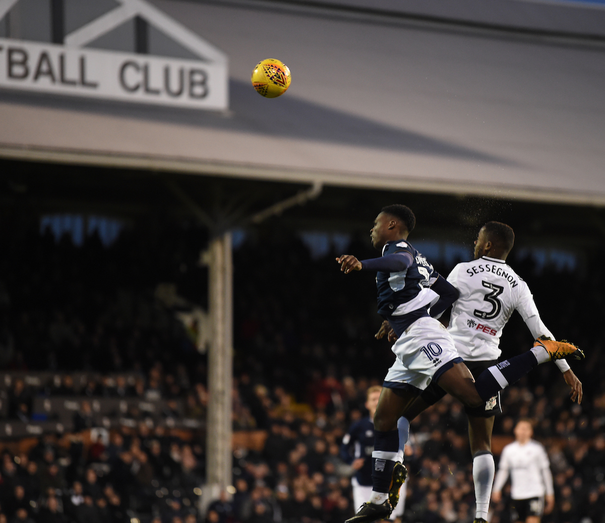 Ryan Sessegnon of Fulham and Fred Onyedinma of Millwall battle for the ball during the Sky Bet Championship match at Craven Cottage, London Picture by Simon Dael/Focus Images Ltd 07866 555979 25/11/2017