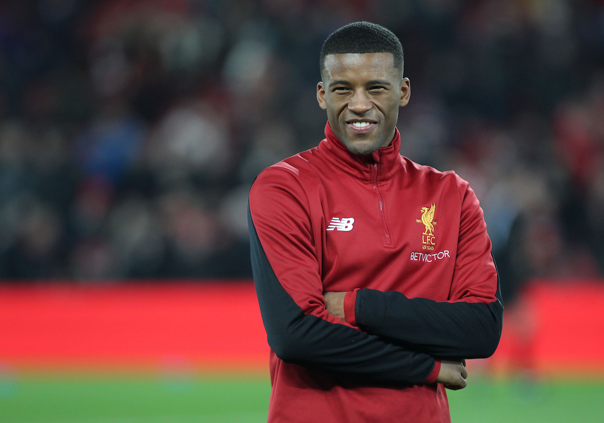 Georginio Wijnaldum of Liverpool prior to the FA Cup match against Everton at Anfield, Liverpool. Picture by Michael Sedgwick/Focus Images Ltd +44 7900 363072 05/01/2018