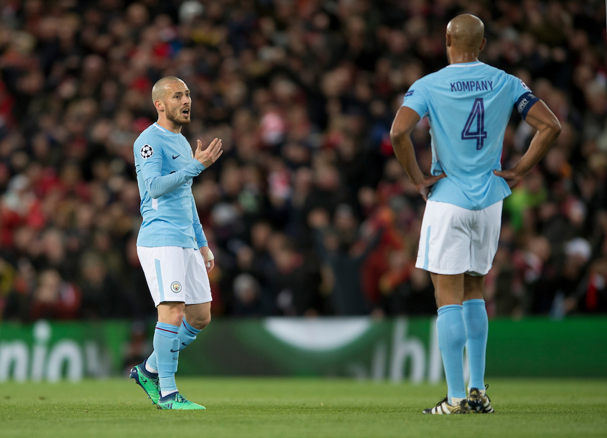 David Silva of Manchester City (left) gestures to Vincent Kompany of Manchester City after their team go 2-0 down during the UEFA Champions League Quarter Final match at Anfield, Liverpool Picture by Russell Hart/Focus Images Ltd 07791 688 420 04/04/2018
