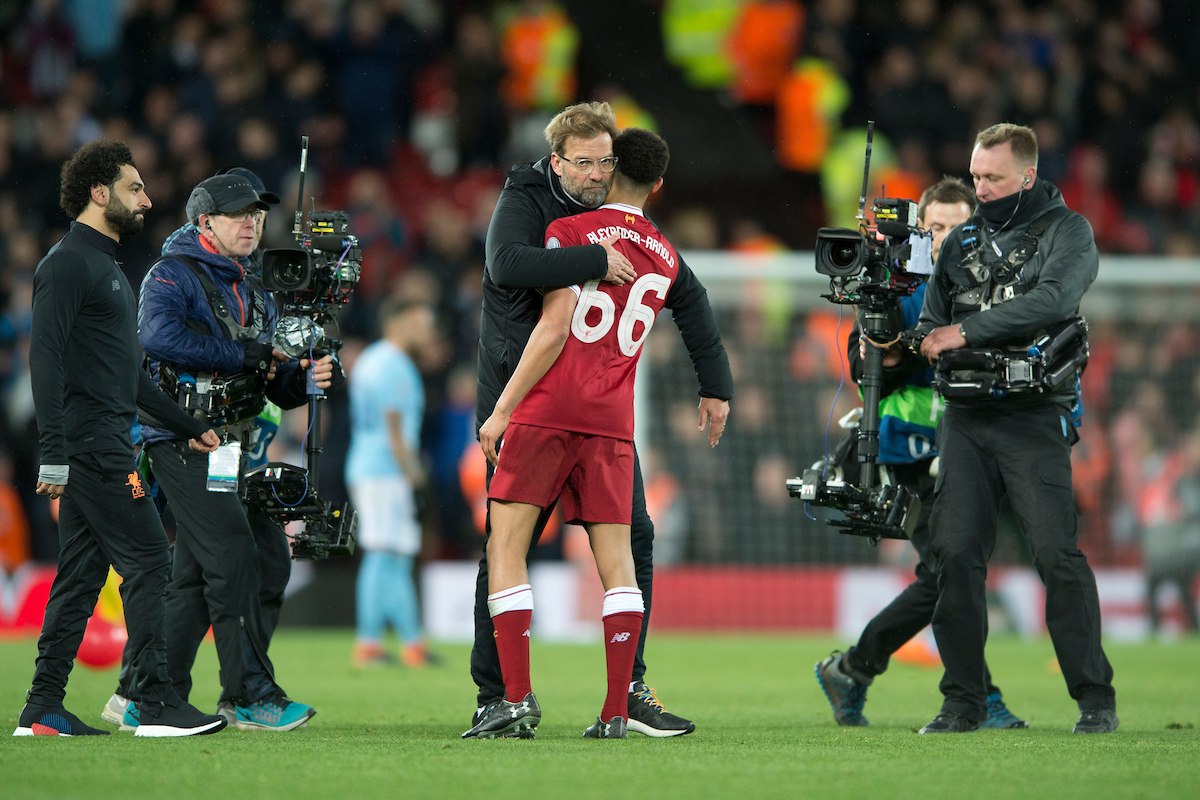 Liverpool manager Jurgen Klopp with Trent Alexander-Arnold of Liverpool following the UEFA Champions League Quarter Final match at Anfield, Liverpool Picture by Russell Hart/Focus Images Ltd 07791 688 420 04/04/2018