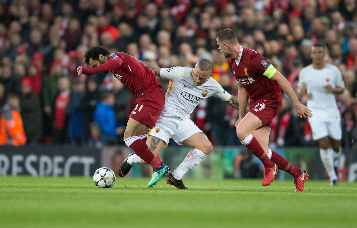 Mohamed Salah of Liverpool (left) gets past Radja Nainggolan of AS Roma during the UEFA Champions League Semi-Final match at Anfield, Liverpool Picture by Russell Hart/Focus Images Ltd 07791 688 420 24/04/2018
