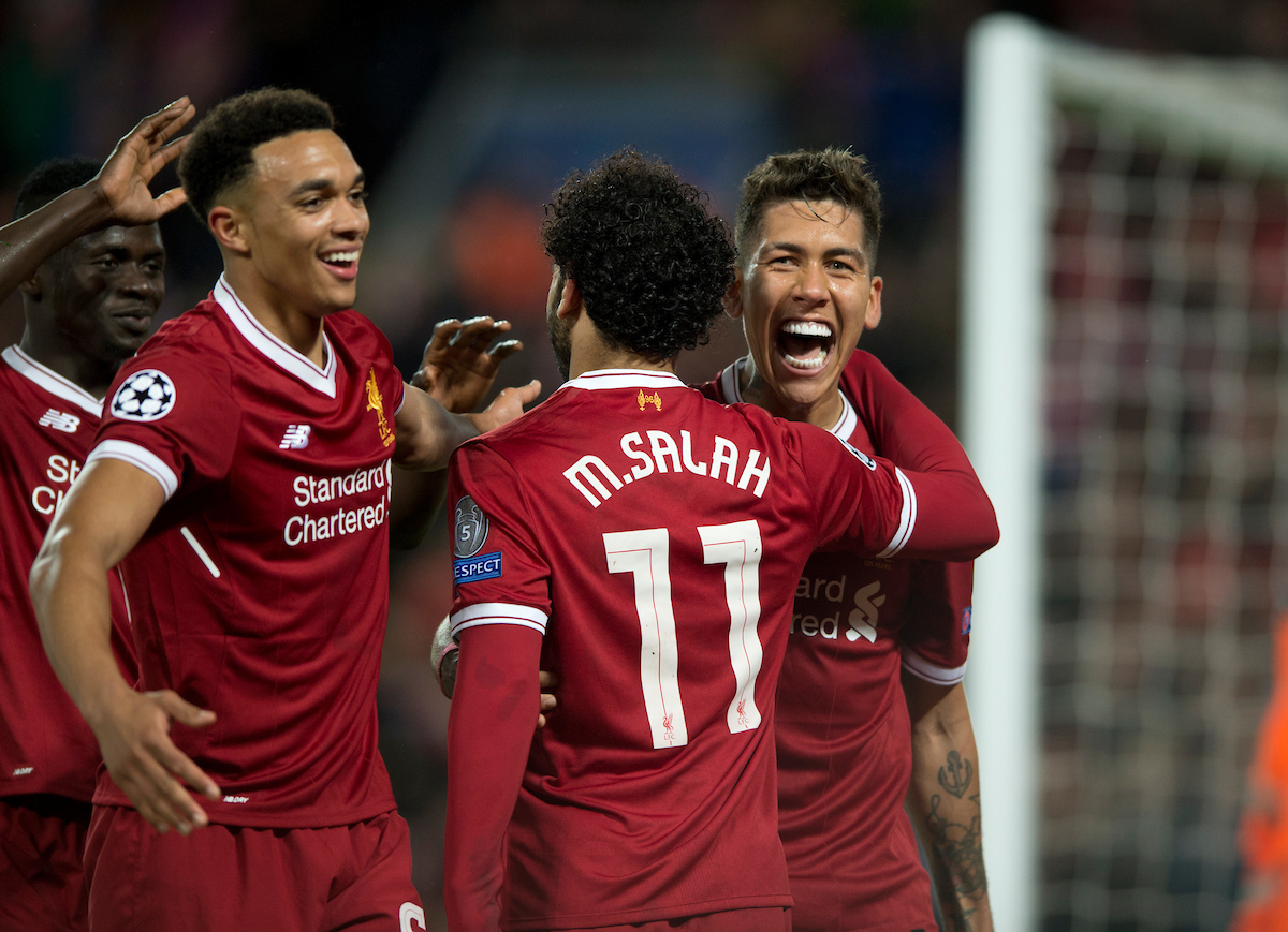 Roberto Firmino of Liverpoo (right)l celebrates after scoring his team's 4th goal to make it 4-0 during the UEFA Champions League Semi-Final match at Anfield, Liverpool Picture by Russell Hart/Focus Images Ltd 07791 688 420 24/04/2018