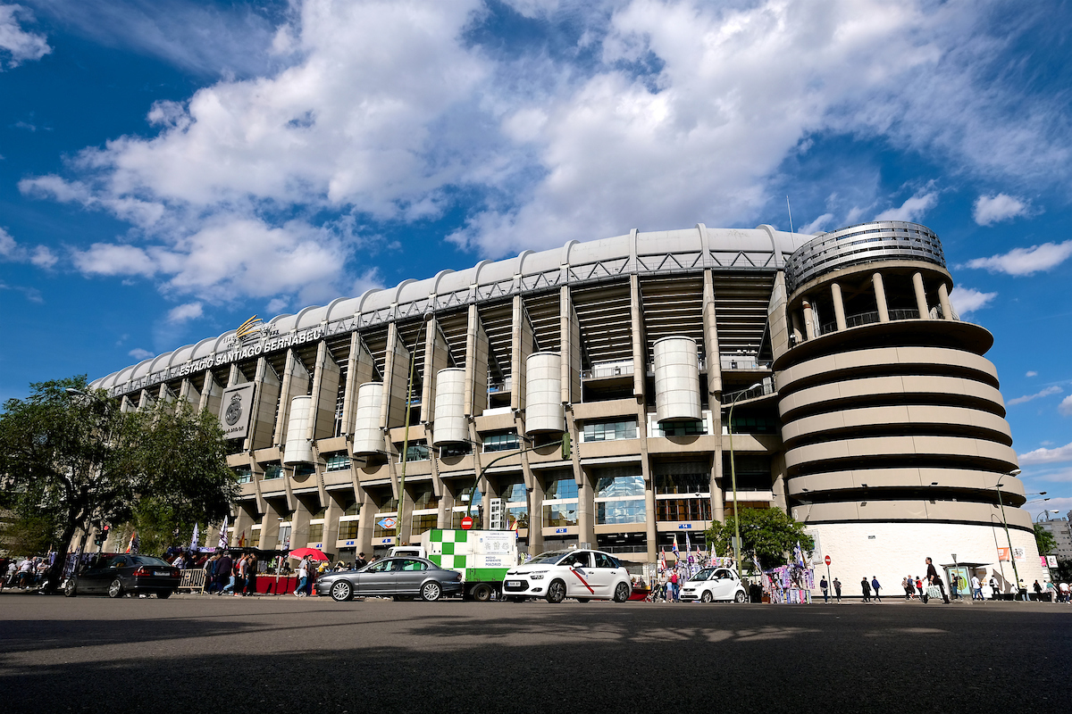 General view of the exterior of the stadium pictured ahead of the first leg of the UEFA Champions League semi-final at the Estadio Santiago Bernabeu, Madrid Picture by Kristian Kane/Focus Images Ltd +44 7814 482222 02/05/2017