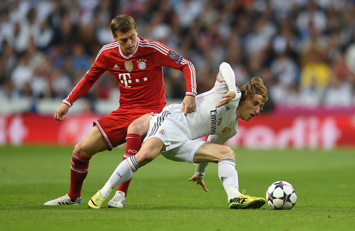 Luka Modric of Real Madrid and Toni Kroos of Bayern Munich during the UEFA Champions League match at the Estadio Santiago Bernabeu, Madrid Picture by Andrew Timms/Focus Images Ltd +44 7917 236526 23/04/2014