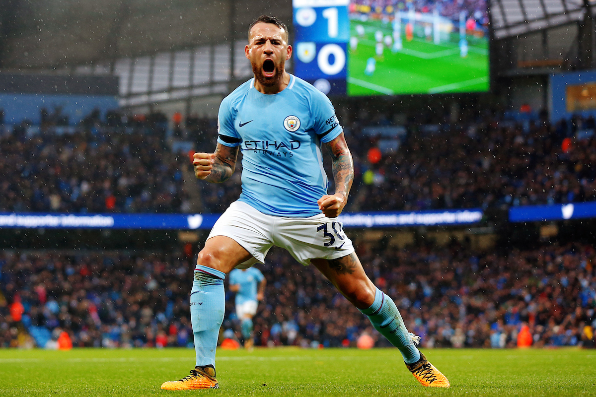 Nicolás Otamendi of Manchester City celebrates scoring his teams second goal at the Premier League match at the Etihad Stadium, Manchester Picture by Paul Keevil/Focus Images Ltd 07825151989 21/10/2017