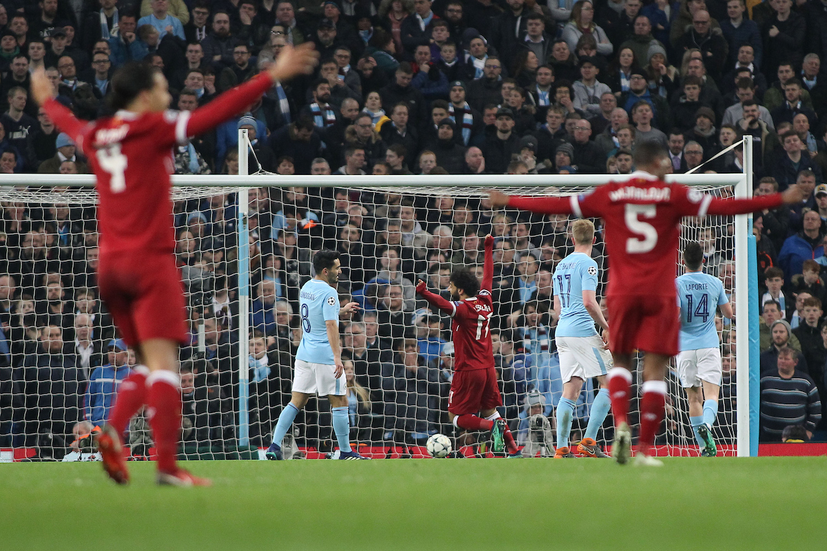 The Liverpool players celebrate after Roberto Firmino scored the second goal against Manchester City during the UEFA Champions League Quarter Final match at the Etihad Stadium, Manchester. Picture by Michael Sedgwick/Focus Images Ltd +44 7900 363072 10/04/2018