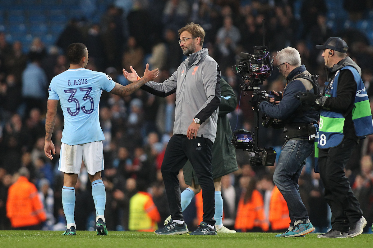 Jurgen Klopp manager of Liverpool shakes hands with Gabriel Jesus, after the UEFA Champions League Quarter Final match against Manchester City at the Etihad Stadium, Manchester. Picture by Michael Sedgwick/Focus Images Ltd +44 7900 363072 10/04/2018