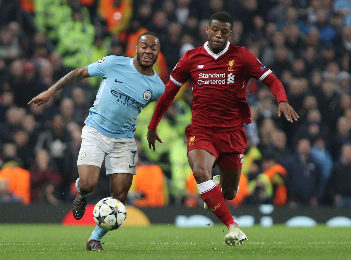 Raheem Sterling of Manchester City and Georginio Wijnaldum of Liverpool in action during the UEFA Champions League Quarter Final match at the Etihad Stadium, Manchester. Picture by Michael Sedgwick/Focus Images Ltd +44 7900 363072 10/04/2018