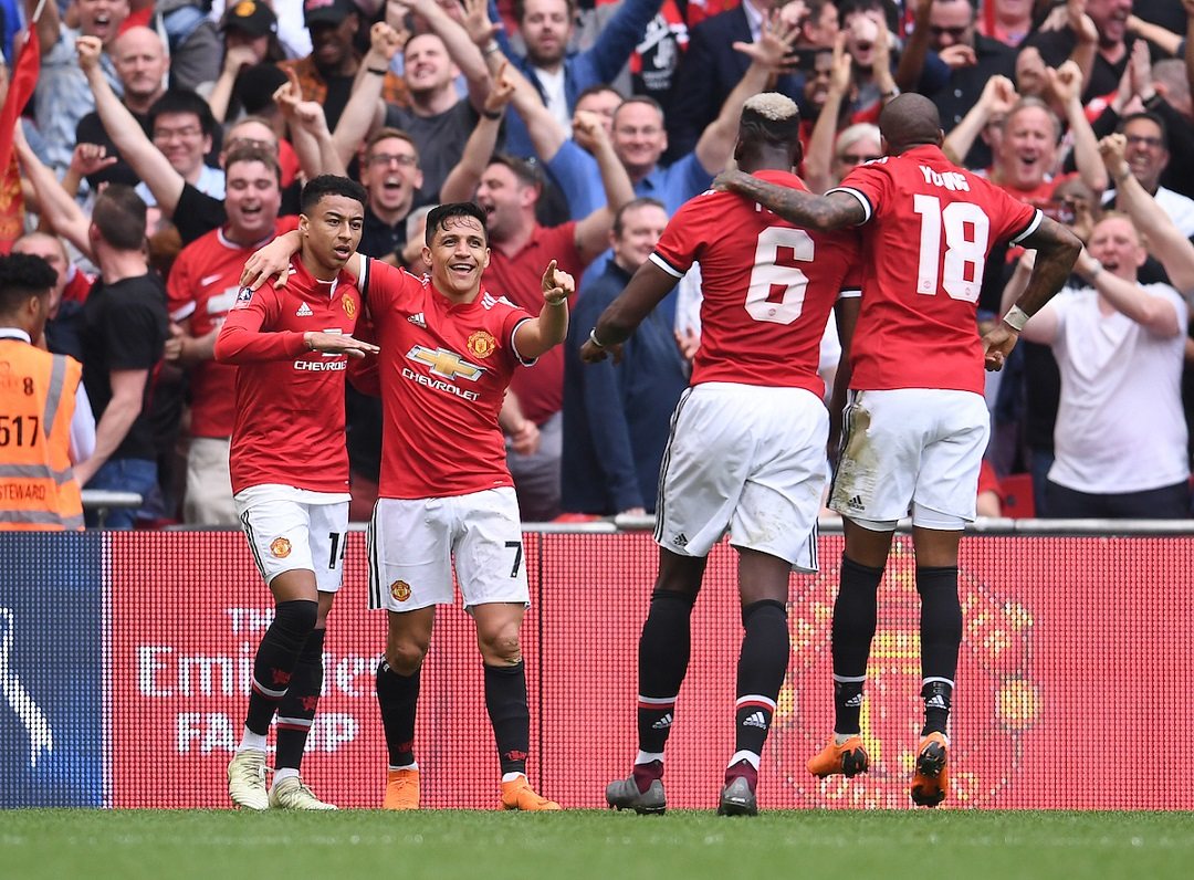 Alexis Sanchez of Manchester United celebrates scoring their first goal during the FA Cup Semi-Final match against Tottenham Hotspur at Wembley Stadium, London Picture by Andrew Timms/Focus Images Ltd +44 7917 236526 21/04/2018