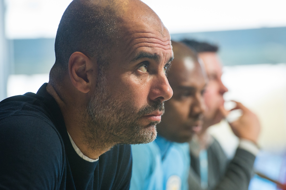 Josep Guardiola during the Manchester City Press Conference at City Football Academy , Manchester Picture by Matt Wilkinson/Focus Images Ltd 07814 960751 09/04/2018