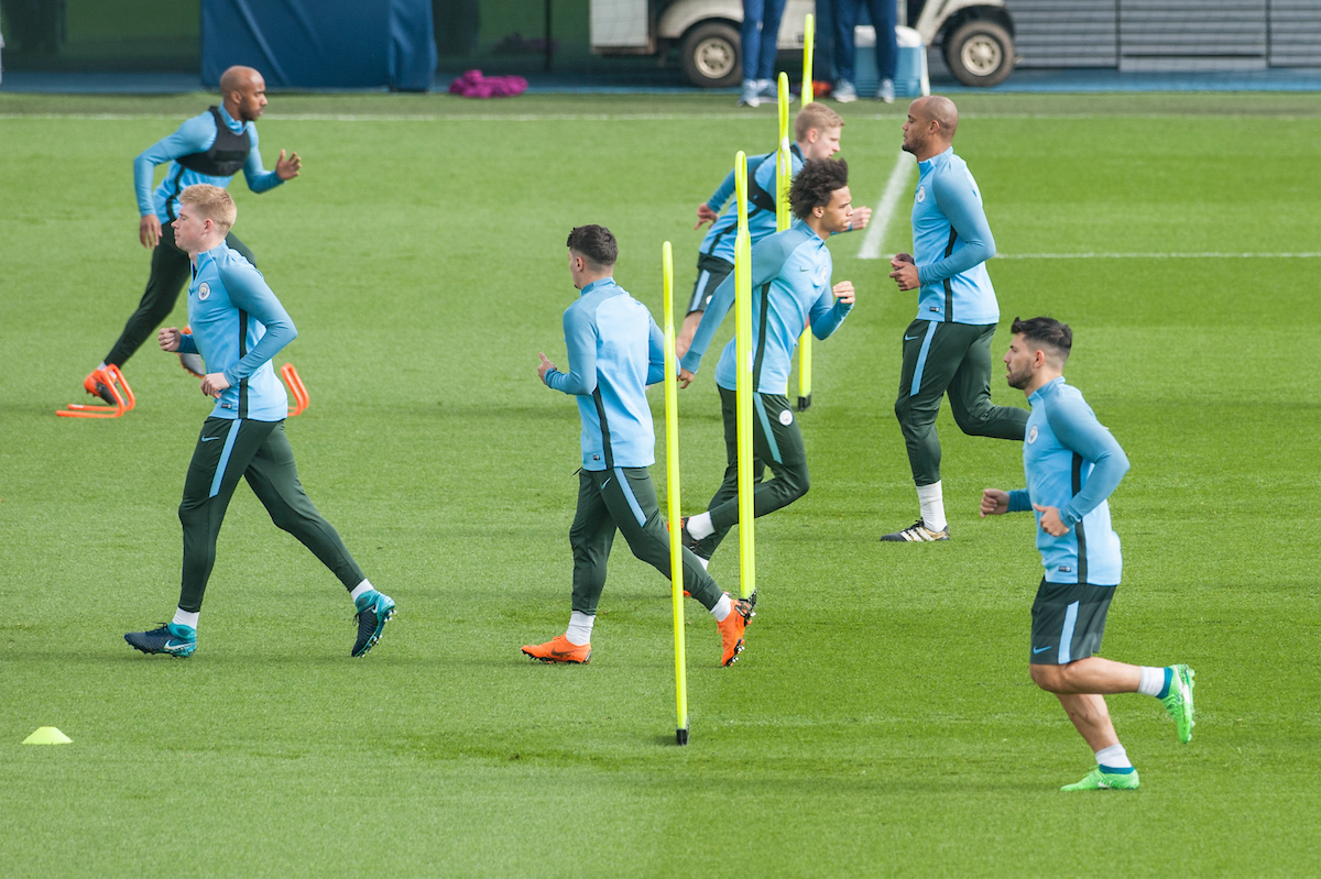 Sergio Aguero of Manchester City (3rd from right) during the Manchester City training session at City Football Academy, Manchester Picture by Matt Wilkinson/Focus Images Ltd 07814 960751 09/04/2018