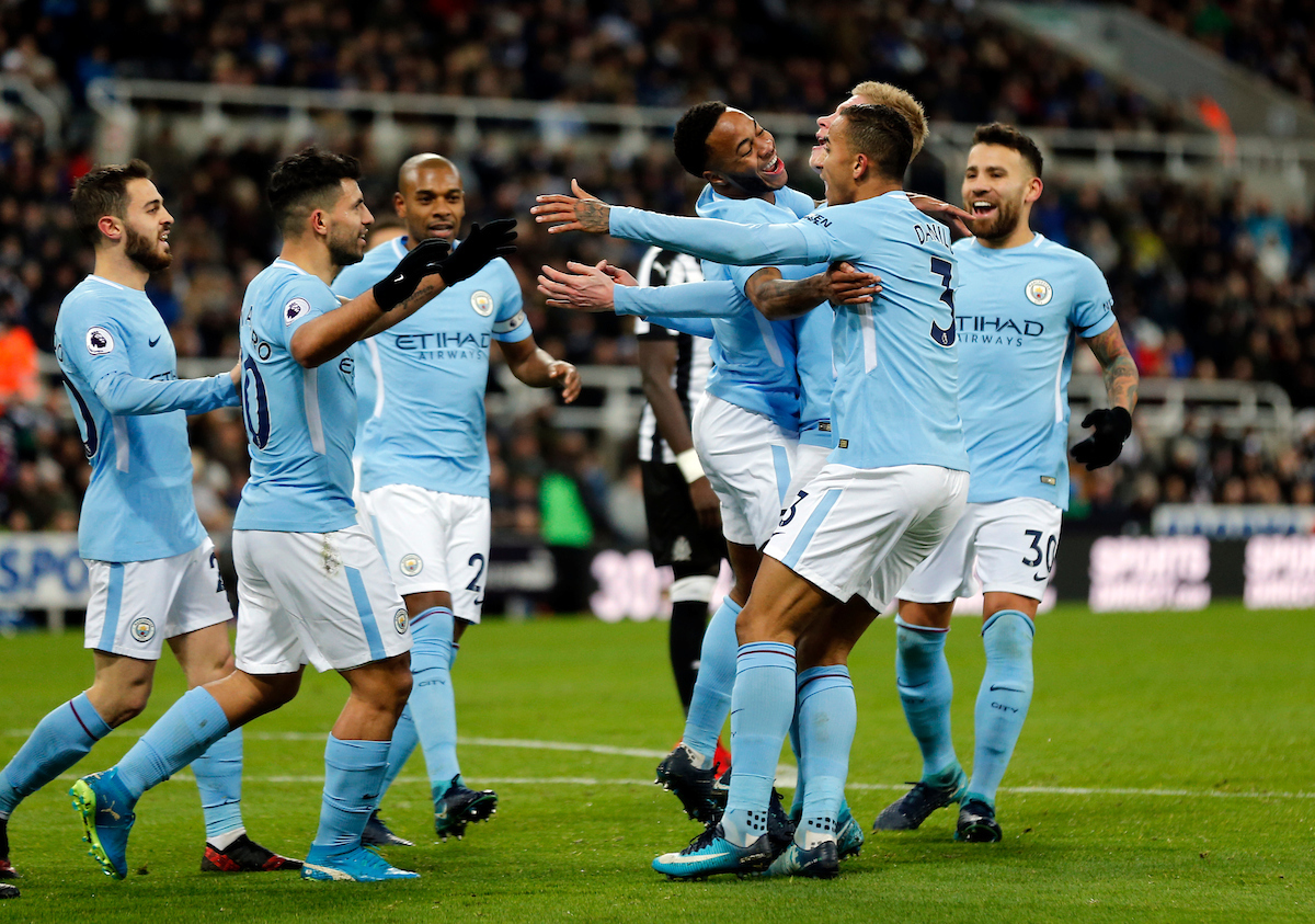 Manchester City celebrate scoring the opening goal during the Premier League match at St. James's Park, Newcastle Picture by Simon Moore/Focus Images Ltd 07807 671782 27/12/2017