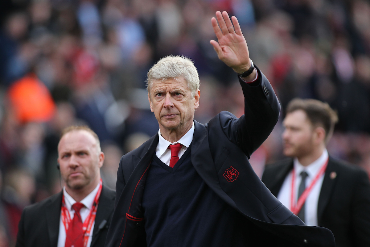 Arsene Wenger, manager of Arsenalwaves to his teams fans after the Premier League  match against Stoke City at the Bet 365 Stadium, Stoke-on-Trent. Picture by Michael Sedgwick/Focus Images Ltd +44 7900 363072 13/05/2017