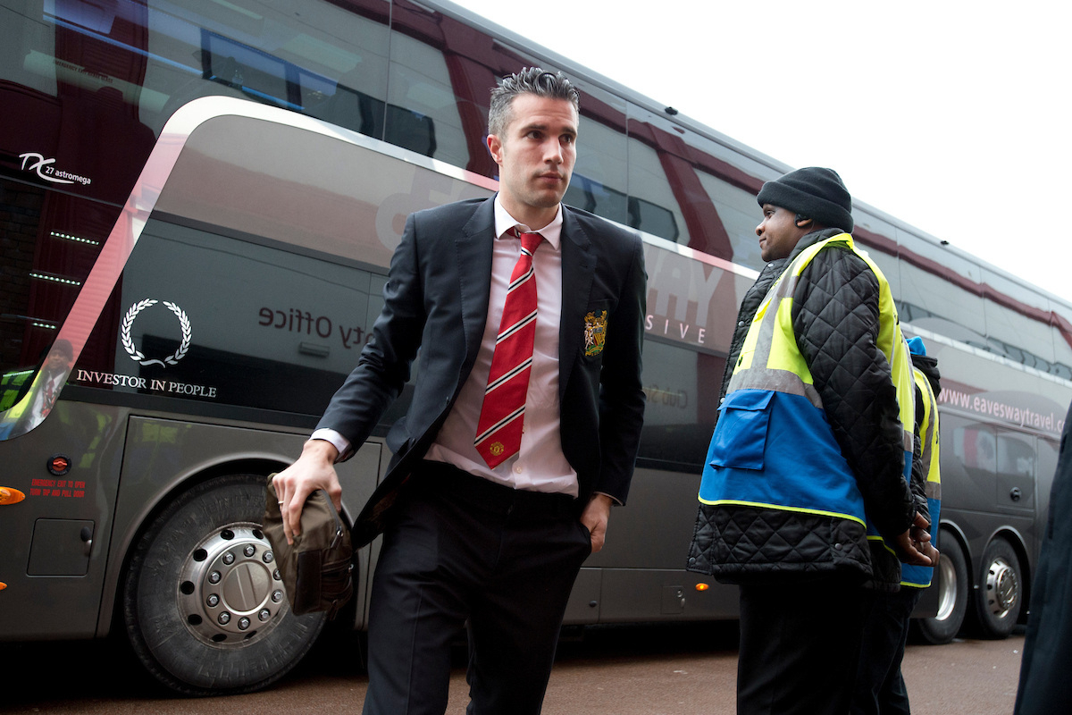 Robin van Persie of Manchester United arrives at the stadium before the Barclays Premier League match at the Britannia Stadium, Stoke-on-Trent Picture by Russell Hart/Focus Images Ltd 07791 688 420 01/01/2015