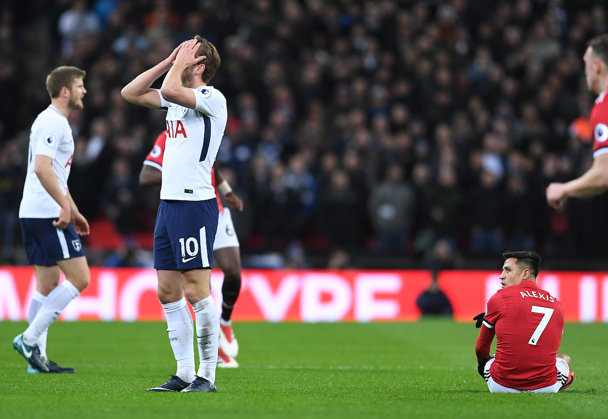 Harry Kane of Tottenham Hotspur and Alexis Sanchez of Manchester United during the Premier League match at Wembley Stadium, London Picture by Andrew Timms/Focus Images Ltd +44 7917 236526 31/01/2018
