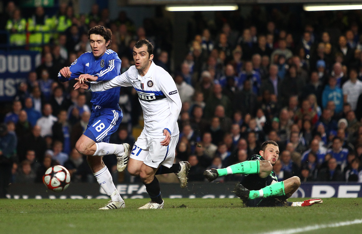 London - Tuesday, March 16, 2010: Yury Zhrikov (18) of Chelsea defends from Goran Pandev (27) of Inter Milan as Ross Turnbull (22) of Chelsea slides out and misses the ball during the Champions League match between Chelsea and Inter Milan at Stamford Bridge, London. (Pic by Andrew Tobin/Focus Images)