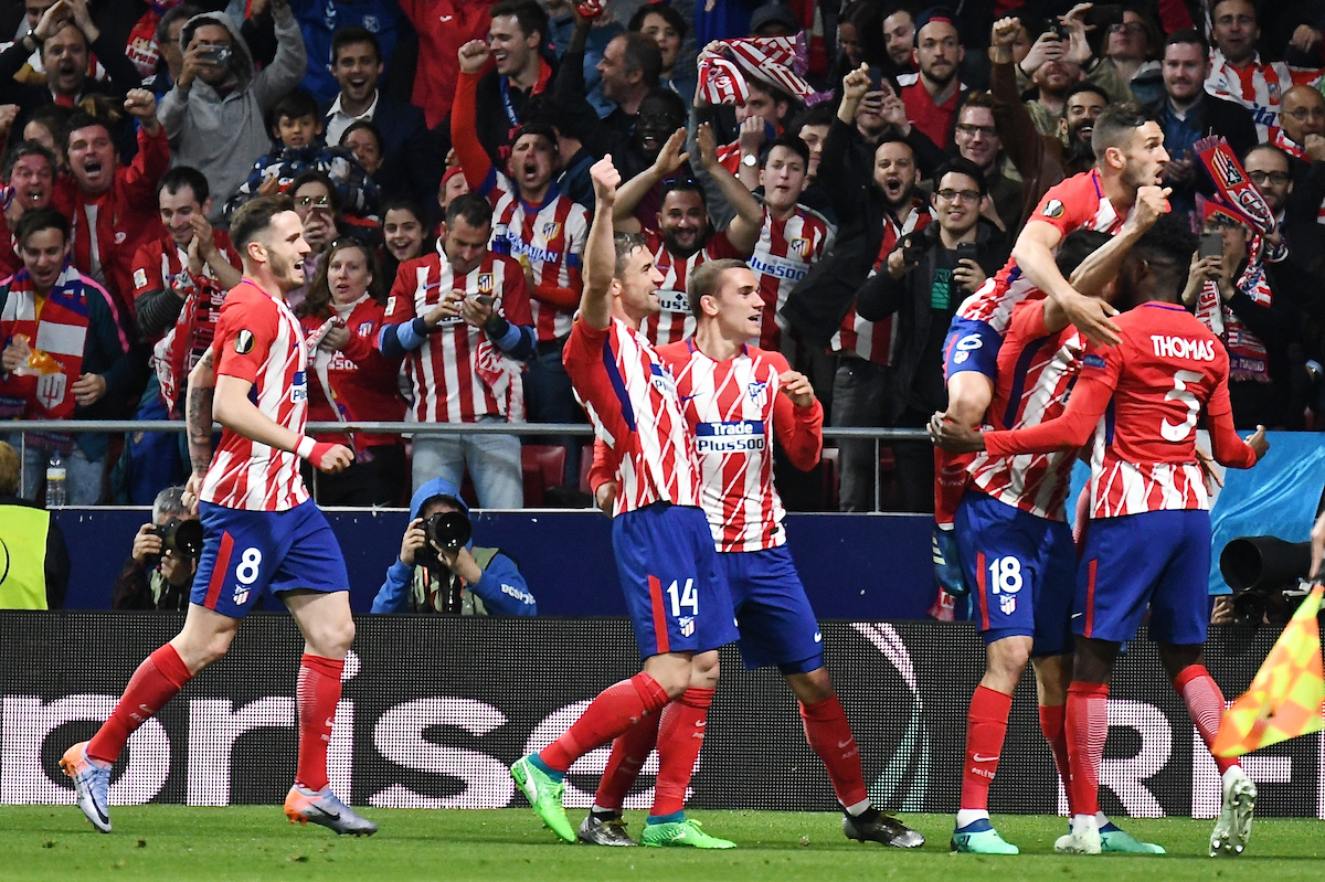 Diego Costa of Atletico Madrid (2nd right)  celebrates scoring their first goal to make it Atletico Madrid 1 Arsenal 0 during the UEFA Europa League Semi-Final match at the Wanda Metropolitano Stadium, Madrid Picture by Kristian Kane/Focus Images Ltd +44 7814 482222 03/05/2018