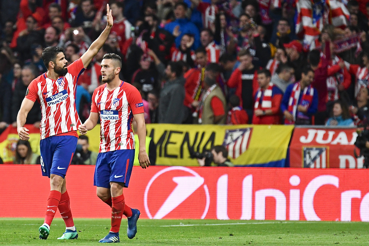 Diego Costa of Atletico Madrid (left) celebrates scoring their first goal to make it Atletico Madrid 1 Arsenal 0 during the UEFA Europa League Semi-Final match at the Wanda Metropolitano Stadium, Madrid Picture by Kristian Kane/Focus Images Ltd +44 7814 482222 03/05/2018