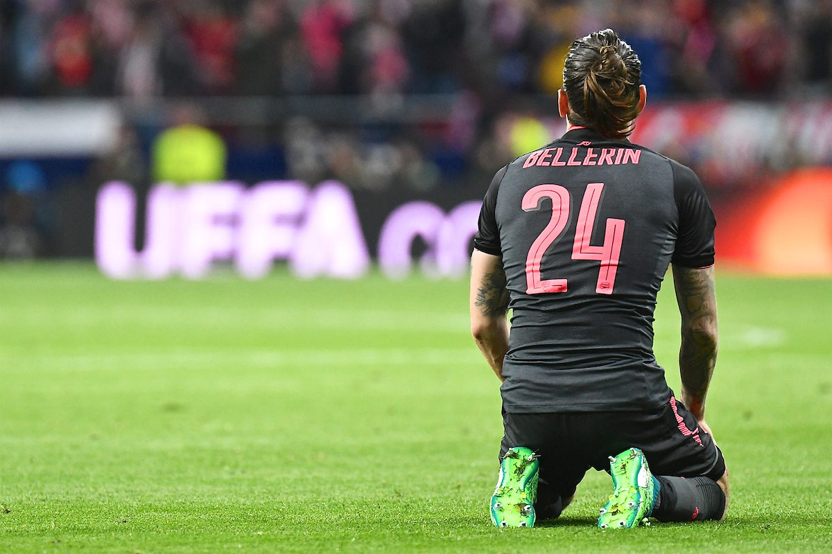 Héctor Bellerín of Arsenal is distraught following their defeat by Atletico Madrid pictured ahead of the UEFA Europa League Semi-Final match at the Wanda Metropolitano Stadium, Madrid Picture by Kristian Kane/Focus Images Ltd +44 7814 482222 03/05/2018