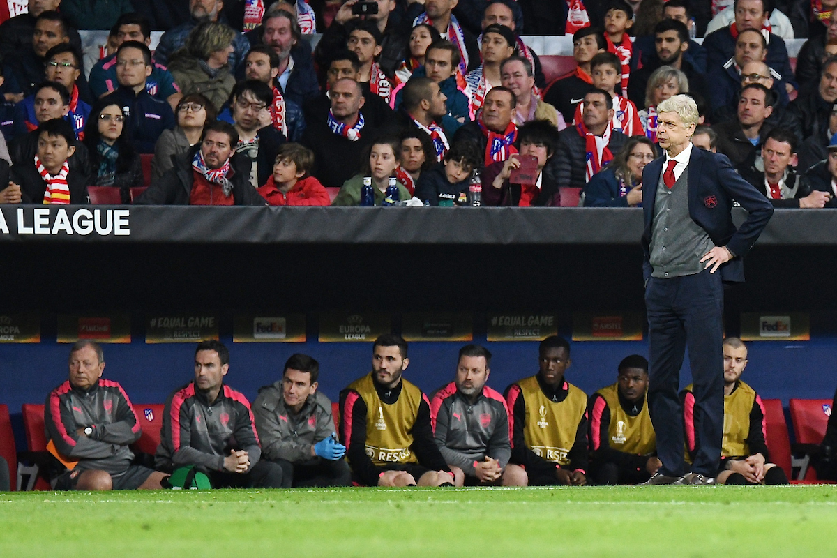 Arsenal manager Arsene Wenger during the UEFA Europa League Semi-Final match at the Wanda Metropolitano Stadium, Madrid Picture by Kristian Kane/Focus Images Ltd +44 7814 482222 03/05/2018