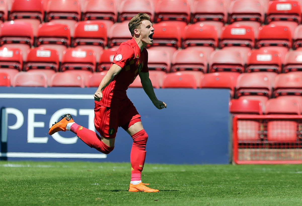 Yorbe Vertessen of Belgium celebrates scoring to make it 1-1 during the UEFA Euro U17 Championship Quarter-Final match at the Banks's Stadium, Walsall Picture by Simon Moore/Focus Images Ltd 07807 671782 14/05/2018