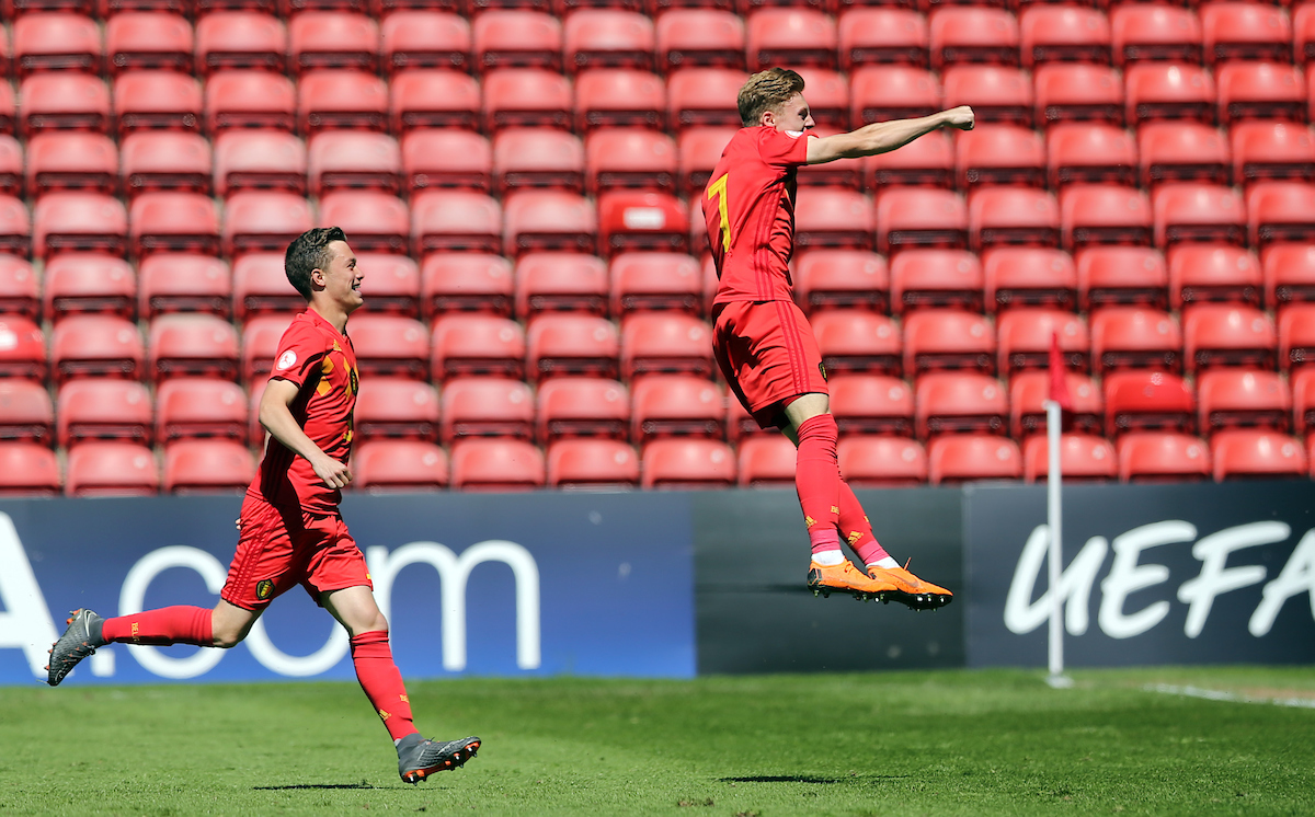 Yorbe Vertessen (r) of Belgium celebrates scoring to make it 1-1 during the UEFA Euro U17 Championship Quarter-Final match at the Banks's Stadium, Walsall Picture by Simon Moore/Focus Images Ltd 07807 671782 14/05/2018