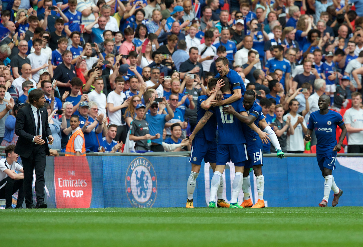Olivier Giroud of Chelsea celebrates with his team mates after scoring the opening goal during the FA Cup Semi-Final match at Wembley Stadium, London Picture by Alan Stanford/Focus Images Ltd +44 7915 056117 22/04/2018