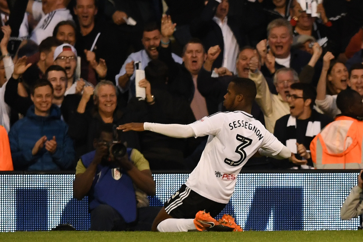 Ryan Sessegnon of Fulham celebrates after scoring during the Sky Bet Championship Play-Off Semi-Final match at Craven Cottage, London Picture by Simon Dael/Focus Images Ltd 07866 555979 14/05/2018