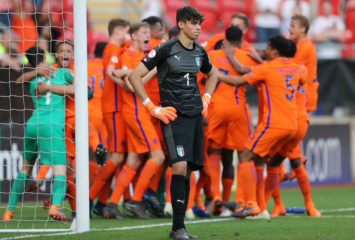 Alessandro Russo of Italy dejected after the UEFA Euro U17 Championship Final match at the New York Stadium, Rotherham Picture by Simon Moore/Focus Images Ltd 07807 671782 20/05/2018
