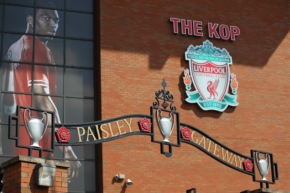 The Bill Paisley Gateway entrance outside of the stadium before the Barclays Premier League match between Liverpool and Chelsea at Anfield, Liverpool Picture by Richard Calver/Focus Images Ltd +447792 981244 27/04/2014