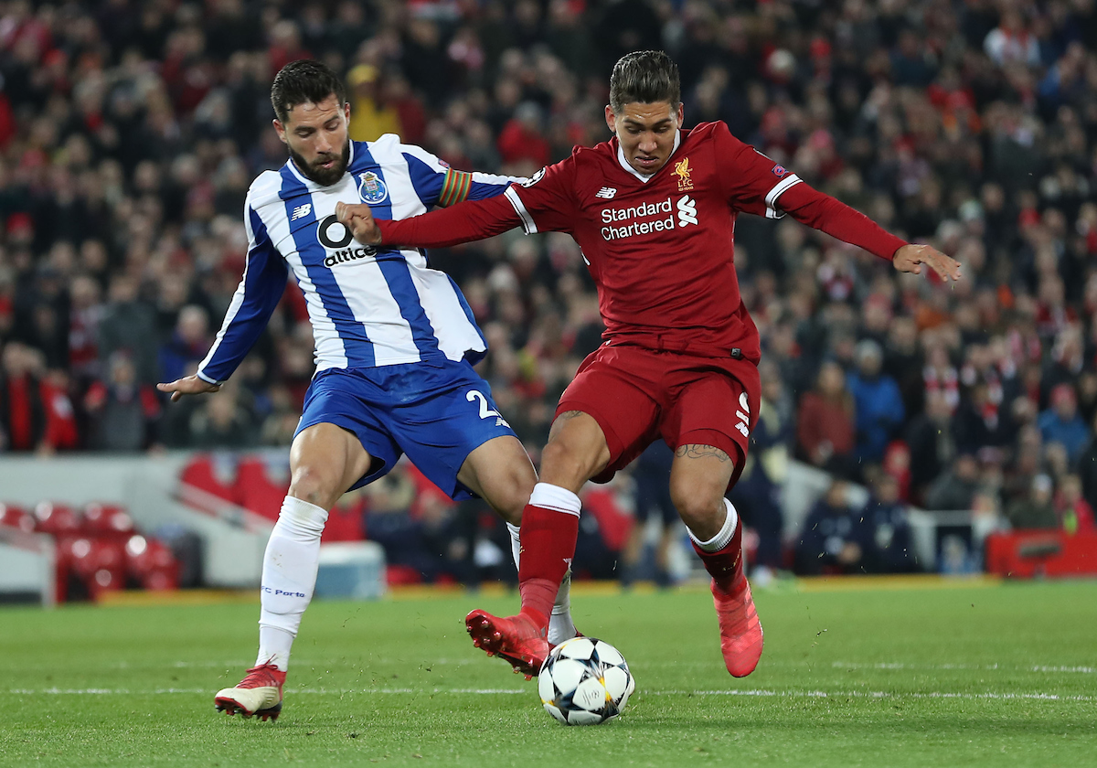 Roberto Firmino of Liverpool and Felipe of FC Porto in action during the UEFA Champions League match at Anfield, Liverpool. Picture by Michael Sedgwick/Focus Images Ltd +44 7900 363072 06/03/2018