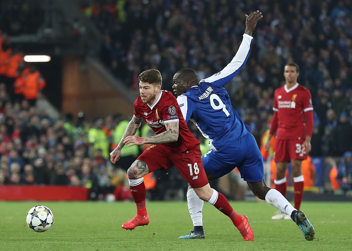 Alberto Moreno of Liverpool and Vincent Aboubakar of FC Porto in action during the UEFA Champions League match at Anfield, Liverpool. Picture by Michael Sedgwick/Focus Images Ltd +44 7900 363072 06/03/2018