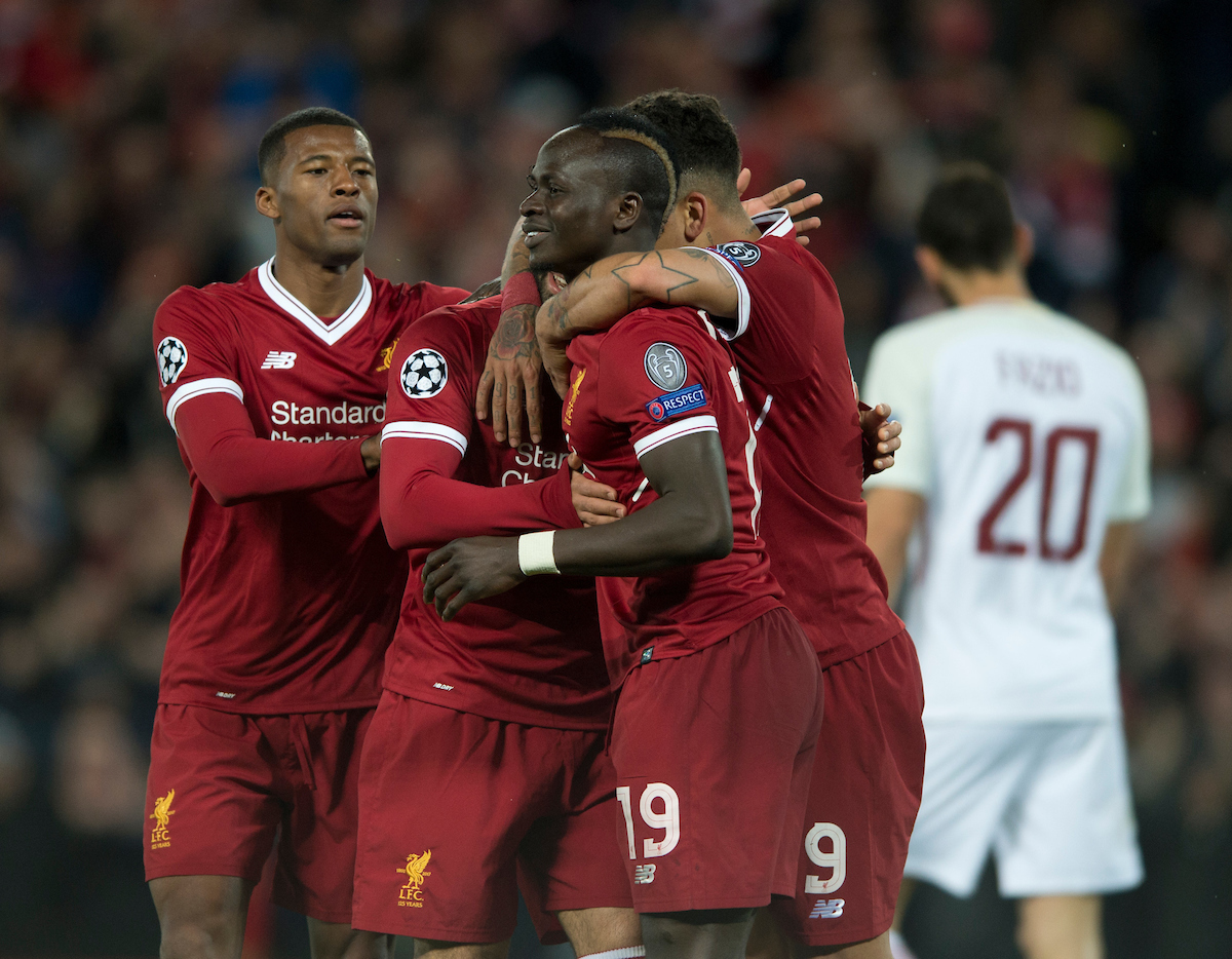 Sadio Mane of Liverpool (centre) celebrates after scoring his team's 3rd goal to make it 3-0 during the UEFA Champions League Semi-Final match at Anfield, Liverpool Picture by Russell Hart/Focus Images Ltd 07791 688 420 24/04/2018