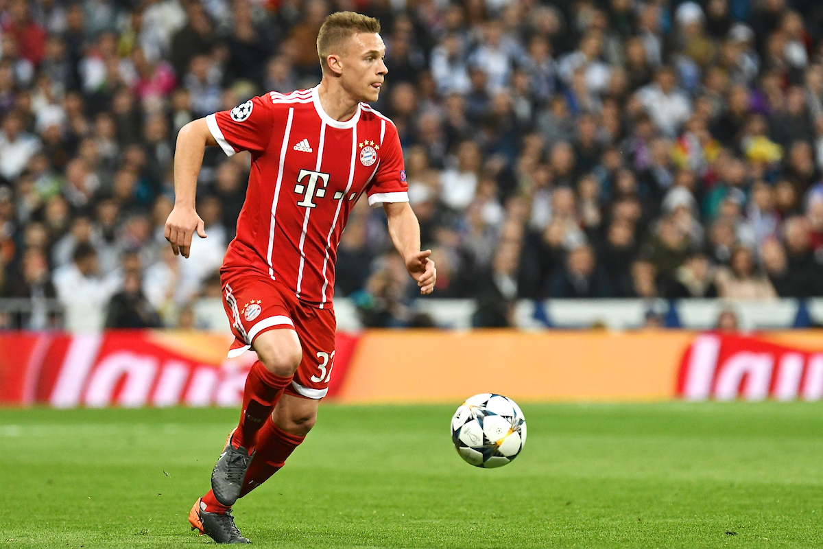 Joshua Kimmich of FC Bayern Munich during the UEFA Champions League Semi-Final match at the Estadio Santiago Bernabeu, Madrid Picture by Kristian Kane/Focus Images Ltd +44 7814 482222 01/05/2018
